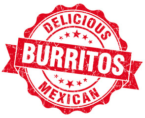 Delicious burritos red vintage seal isolated on white