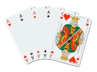 Carré d'as avec roi de coeur