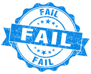 Fail blue vintage seal isolated on white