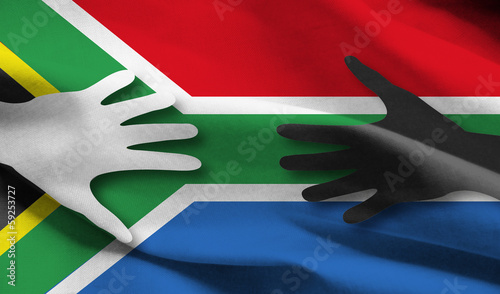 southafrica flag with hands