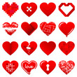 16 Abstract Red Hearts