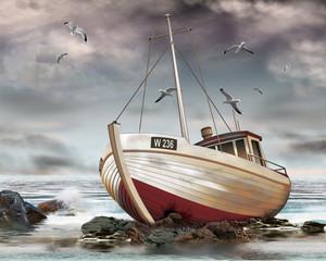 gestrandeter Fischkutter