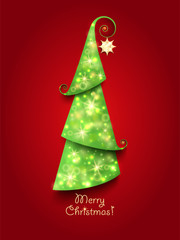 Christmas Greeting Card. Green Christmas tree with twinkly light