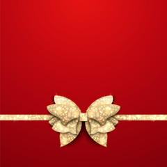 Red Christmas background with gold bow