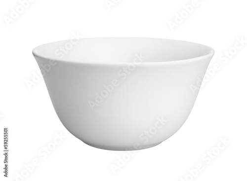 Empty white ceramic bowl on a white background