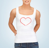 woman in white tank top with heart on it