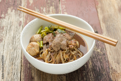 Minced pork noodles