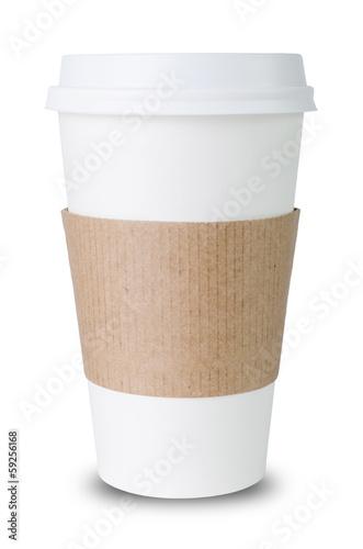 Staande foto Thee Pappbecher mit Sleeve vor weißem Hintergrund