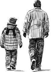 father and son at walk