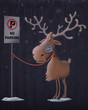 Santa Claus's reindeers in no parking area - 59256553
