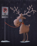 Santa Claus's reindeers in no parking area