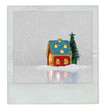 Christmas card with festive light in house