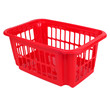 empty red plastic basket isolated on white