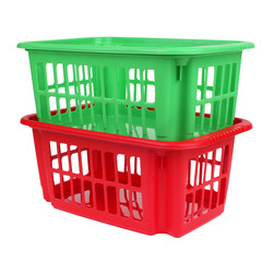 empty red and green plastic basket isolated on white