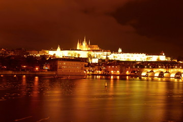 Prague Castle and bank at night, Czech republic