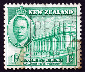 Postage stamp New Zealand 1946 Parliament House, Wellington