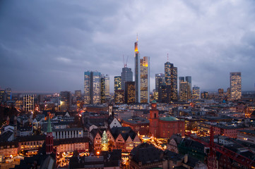 Skyline Frankfurt with christmas market