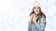 Smiling beautiful woman with beige cap and scarf