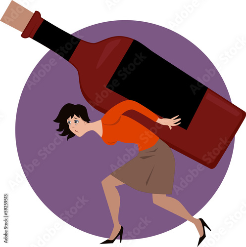 Alcoholic woman carrying a bottle of liquer