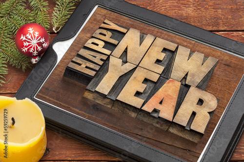 happy new year on digital tablet