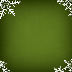 Green Abstract Christmas Winter Background with Snowflakes