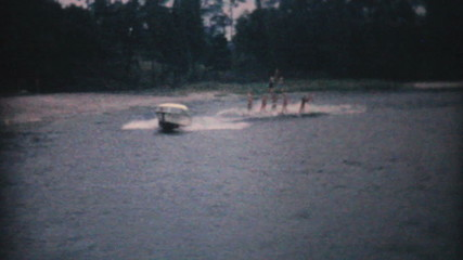 Water Skiers Perform Pyramid Stunt-1961 Vintage 8mm film