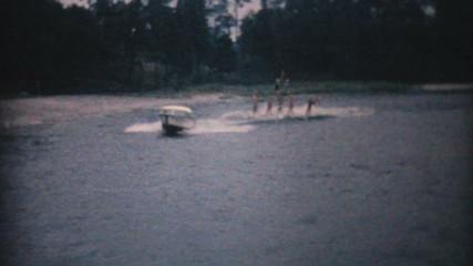 Water Skiers Perform Pyramid Stunt-1961 Vintage 8mm film