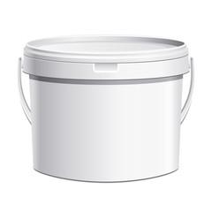 Seau plastique blanc anse plastique