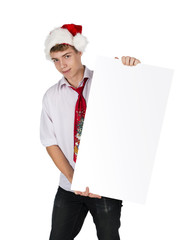 Christmas smiling guy hold white board with empty copy space, co