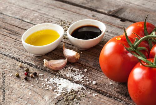 Olive oil, balsamic vinegar, garlic - vinaigrette dressing