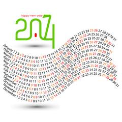 New year 2014 vector calendar design, wavy concept.