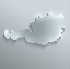 Austria map glass card paper 3D vector flag
