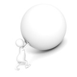 white 3d man push up heavy sphere. Sisyphus concept