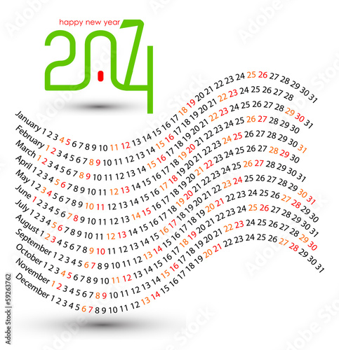 New year 2014 vector calendar design, wavy concept.