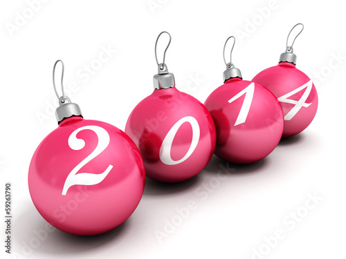 happy new year 2014 red christmas balls on a white background