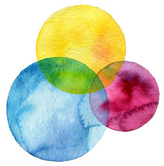 Abstract watercolor circle painted background © Liliia
