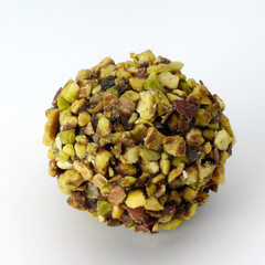 chocolate ball covered with pistachio