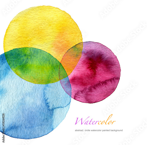 Plexiglas Geschilderde Achtergrond Abstract watercolor circle painted background