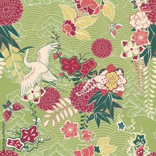 Cotton fabric Oriental silk pattern