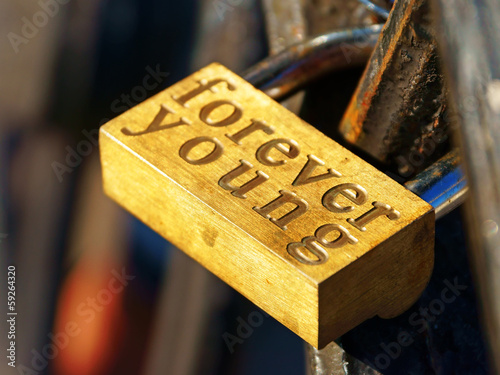 Padlock with forever young inscription