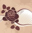vector background with roses in grunge style