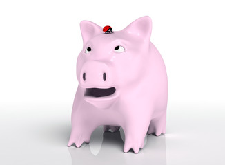 Surprised piggy bank with ladybug on head