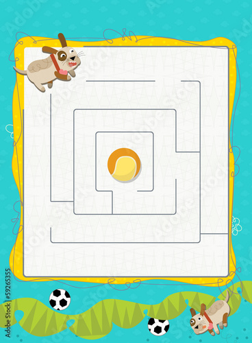 Cartoon labyrinth - illustration for the children
