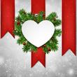 White heart paper christmas card.