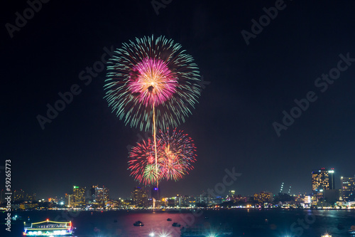 fireworks at Pattaya beach