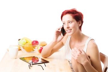 frühstück mit telefon anruf