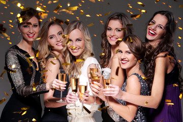 Best friends having a new year party