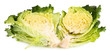 Fresh cut savoy cabbage isolated on white