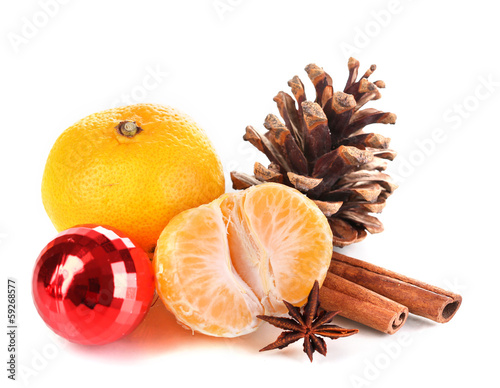 Christmas composition with tangerines isolated white