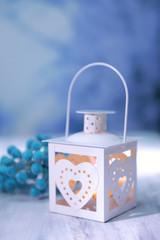 Christmas lantern  on light background